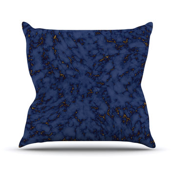 "Will Wild ""Blue & Gold Marble"" Navy Abstract Outdoor Throw Pillow"