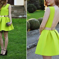 Open Back Dresses Neon Green Backless Sashes Party Short Mini  Design Sundress Tunics Gowns