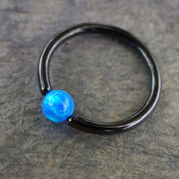 Black CBR Hoop with Blue Opal Cartilage Hoop Tragus Helix Rook