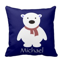 Cute Polar Bear on Navy Pillow, Add Name