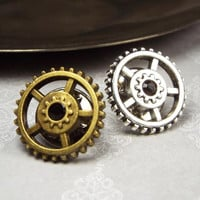 Steampunk Gear Tie Tack in Silver or Bronze Tone with Swarovski Elements Rhinestone