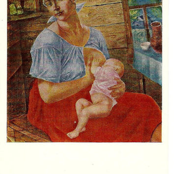 Mother breastfeeding - Woman and Infants - Vintage Russian Postcard -Art work K. Petrov-Vodkin 1968