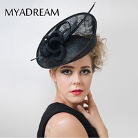 MYADREAMT Twisted Flower Elegant Ladies Fedora Solid Feather Fascinator Sinamay Wedding Kentucky Derby Hats for Women Top Hat
