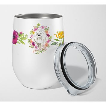 Maltese Pink Flowers Stainless Steel 12 oz Stemless Wine Glass CK4223TBL12