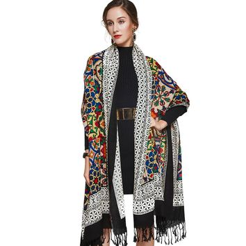 100% Wool Square Head Floral Long Scarf