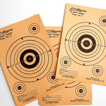 Vintage JC Higgins 50 Foot Target. Paper Ephemera. Vintage Sporting Goods. Target Practice. Sears And Roebuck. Home Decor. Wall Hanging.