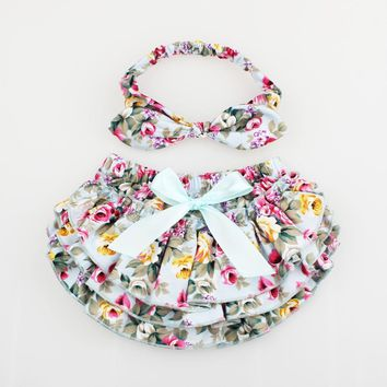 Floral Baby Bloomer & Headband Set Newborn Ruffle Diaper cover with Top Knot Head Wrap Summer Photo Costume KS005