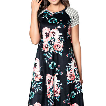 Black Backdrop Floral Print A-Line Loose T-Shirt Dress LAVELIQ