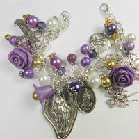 Catholic Miraculous Virgin Holy Medal Saints Charm Purple Beaded Bracelet