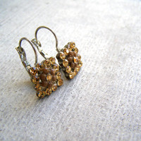 90s Small Square Rhinestone Earrings, Honey Gold Dainty Bling Drop Earrings, Hipster Everyday Night Minimal Jewelry, Woman Gift