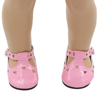 American Girl Doll Shoes Fits 18'' Doll Clothes Love Pink Leather Sandals Hollow Doll Accessories xie