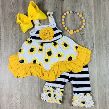 RTS Black and White Striped Sunflower 2pc Set D31