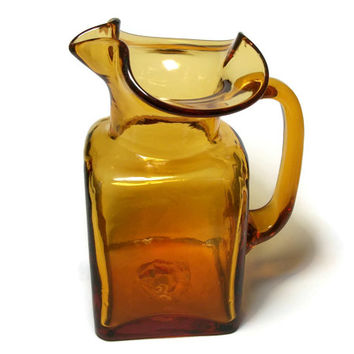 Small Amber Glass Ewer Pitcher - Vintage Square Ewer with Handle Bud Vase - Autumn Color Gold Orange Yellow Brown