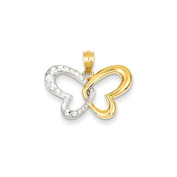 14k Yellow Gold & White Rhodium 22mm Heart Winged Butterfly Pendant
