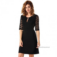 Women fashion half sleeve  Floral Lace Back Slim fit Casual Party Mini Dress = 1838543044