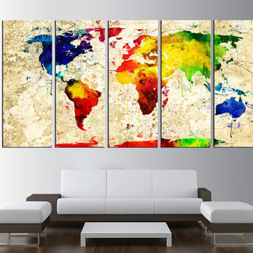 world map canvas art print, old water color world map wall art, Art, large canvas print, extra large wall art, world map poster canvas t404