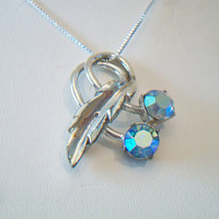 Upcycled Charel Blue Cherry Pendant Repurposed Iridescent Cherries Silver Tone Costume Jewelry