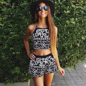 Hot Sale Summer Print Pattern Wrap Shorts Set [7278864839]