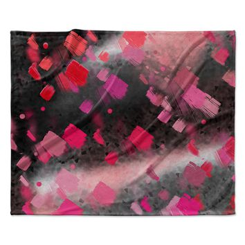 "Rosa Picnic ""Abs-8"" Black Pink Abstract Contemporary Painting Watercolor Fleece Throw Blanket"