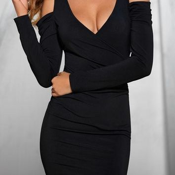 Black Ruffle V-neck Long Sleeve Fashion Dacron Mini Dress