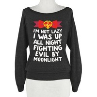 HUMAN I Was Up Fighting Evil By Athletic Black Large T-Shirt