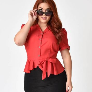 Collectif Plus Size Vintage Style Red Phoebe Peplum Blouse