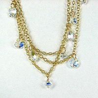 Bohemian multistrand crystal bead and layered gold chain necklace
