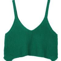 Green V Neck Knitted Crop Top