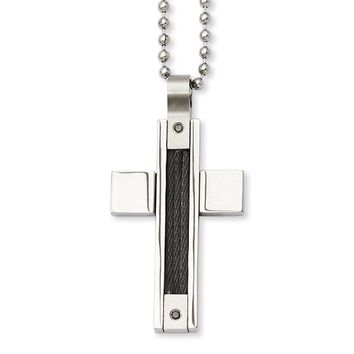 Stainless Steel Black Wire and Black Diamond Cross Necklace - 24 Inch