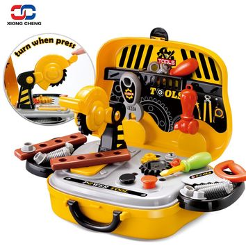 Construction Tools Toy Set for Baby Boy Plastic Chainsaw Screws Hammer Pretend Play Kids Suitcase Garden Carpentry Tool Box D54