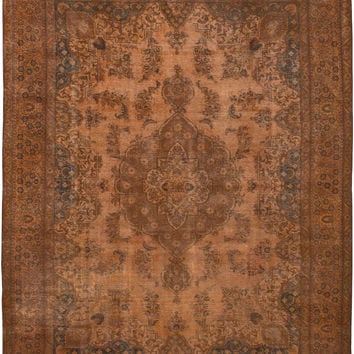 """10'2"""" x 12'10"""" Rust Brown Vintage Persian Overdyed Rug"""