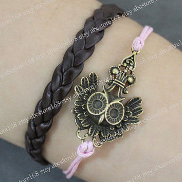 Antique Brass Crown Owl Bracelet Braided Leather Bracelet Adjustable-gift for girlfriend