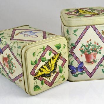 Tea Tins Matching Pair - Garden Butterfly Theme - Biscuit Tin Accent Decor - Vintage Shabby Cottage - Artist Tina
