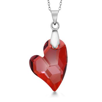 "Devoted 2U Red Magma Heart Pendant on 18"" Chain Created with Swarovski® Crystals"