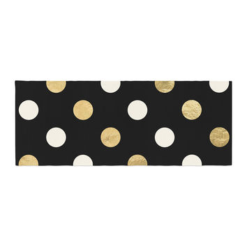 "KESS Original ""Golden Dots"" Black Gold Bed Runner"