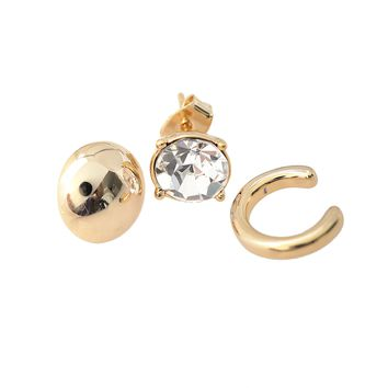 Oval Round, Crystal Stud and Bar Ear Cuff Earring Set of 3