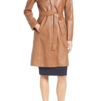 BOSS 'Sozza' Single Breasted Leather Trench Coat | Nordstrom