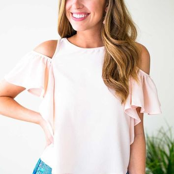 Imitate It Ruffle Cold Shoulder Top in Blush