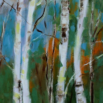 Oil Painting - Original - Honeyscolors - Landscape - Birch Trees - 14 x 11