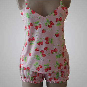 Lingerie Cami & Bloomers  Set with Strawberry Print Cotton Handmade
