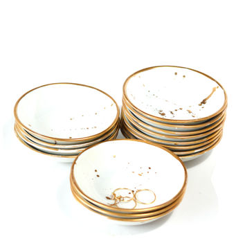 Contemporary Gold Splattered Ring Dish