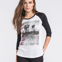 Hurley Hazy Womens Baseball Tee Black/White  In Sizes