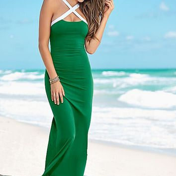 Green Strappy Jersey Maxi Dress