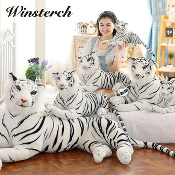 Cute Plush White Tigers Stuffed Animals Plush Doll Vivid Tiger Model Baby Kids Birthday Gifts Drop Shipping WW32