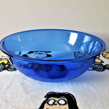 Pyrex Cobalt 326 Mixing Bowl,  Bright Blue Pyrex 4 Liter Nesting Bowl, Large Clear Cobalt Mixing Bowl