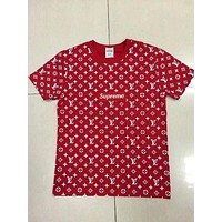 Supreme LV Fashion Print With Flower Embroider Monogram Short Sleeve Tee Top hoodie B-GQHY-DLSX