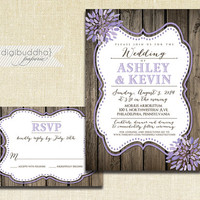 Lilac Bloom Wedding Invitation & RSVP 2 Piece Suite Wood Purple Lavender Watercolor Modern Script Shabby Chic Rustic DiY or Printed- Ashley