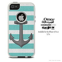 The Aqua Green Striped and Anchor Skin For The iPhone 4-4s or 5-5s Otterbox Commuter Case