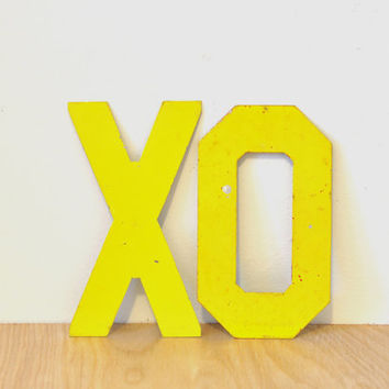 Vintage XO Metal Marquee Yellow Sign Letters