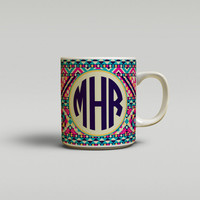 Monogram coffee mug, Tribal print in Turquoise pink navy, Aztec ceramic mug, Personalized coffee mug Unique Tea mug Gifts for teacher (1261)